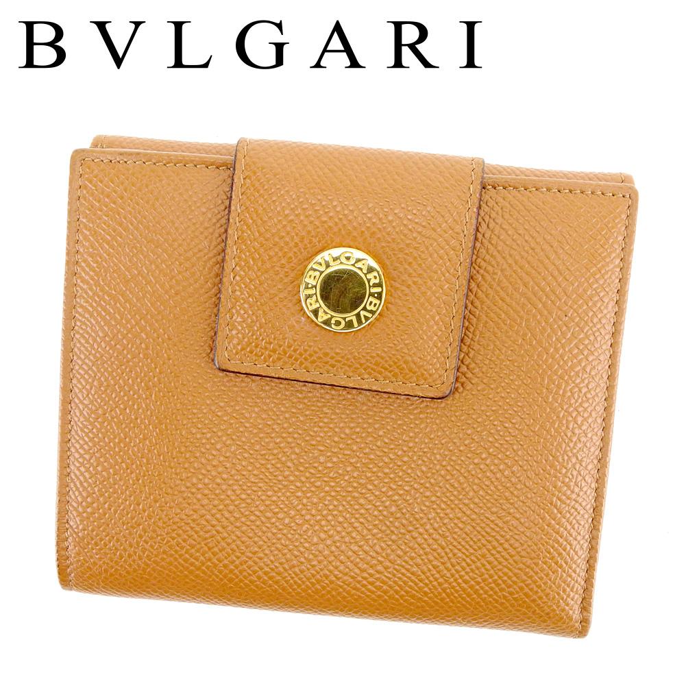 【中古】 ブルガリ BVLGARI Wホック財布 二つ折り 財布 メンズ可 ブルガリブルガリ ライトブラウン ゴールド PVC×レザー 美品 セール T6560