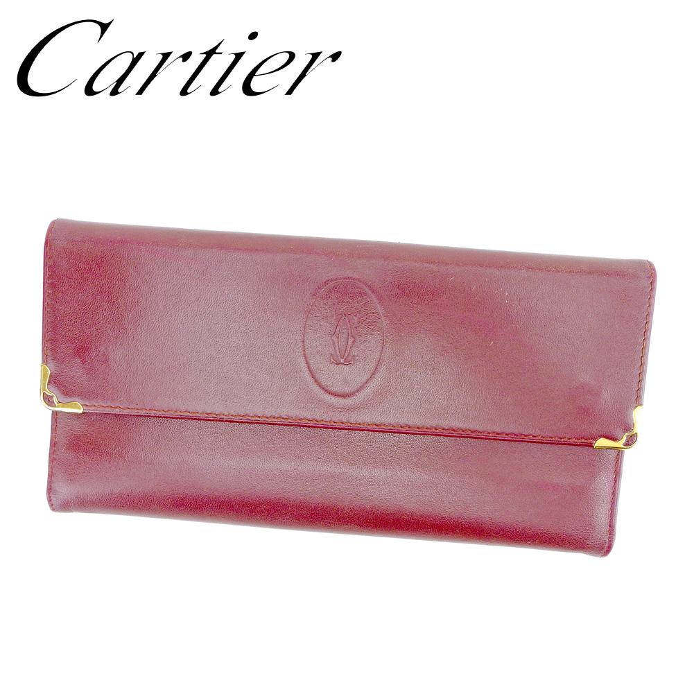 1590fda112b1 カルティエ Cartier がま口財布 長財布 三つ折り財布 財布 メンズ可 マストライン ボルドー レザー 人気 良品 【中古】 T6561 .  楽しみたい