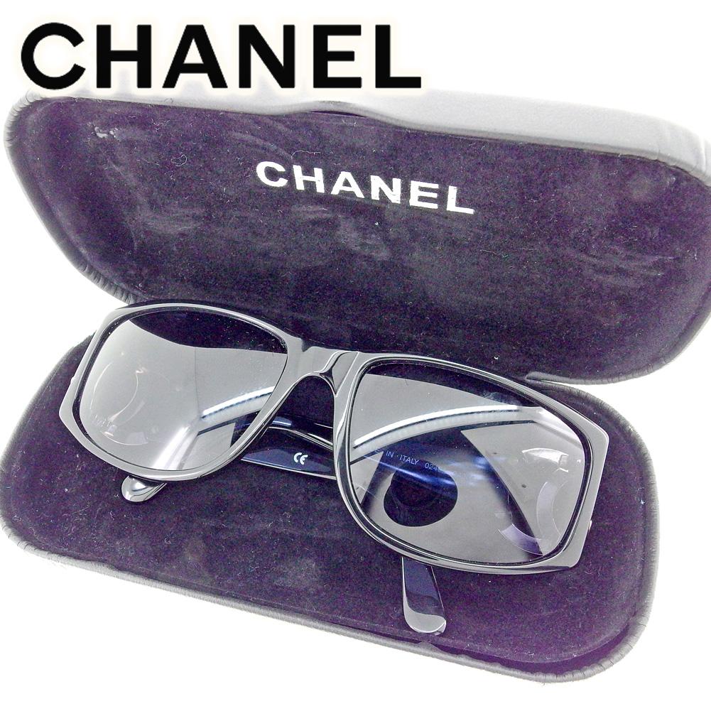 【中古】 シャネル CHANEL サングラス メンズ可 ココマーク ブラック ゴールド プラスティック 人気 セール T6566 .