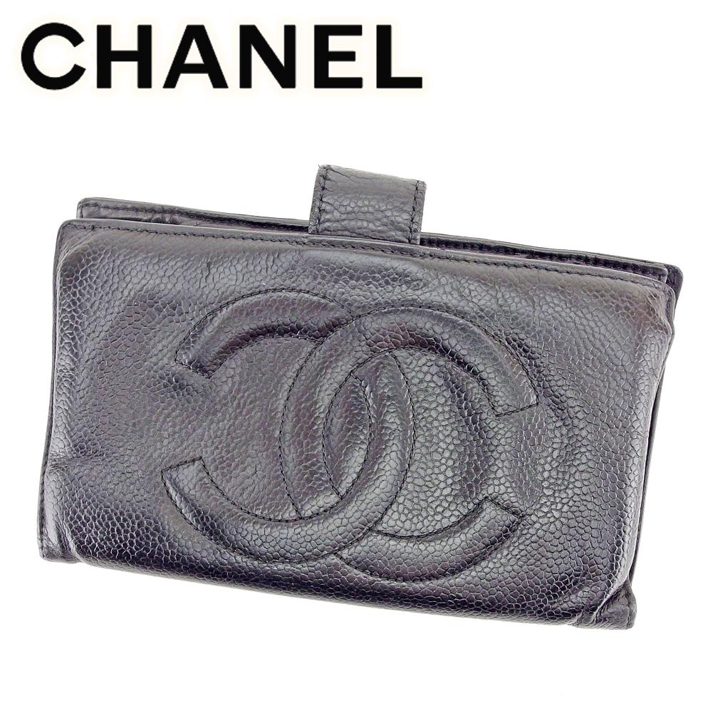【中古】 シャネル CHANEL がま口 財布 長財布 メンズ可 キャビアスキン×ココマーク ブラック レザー 人気 セール T6568