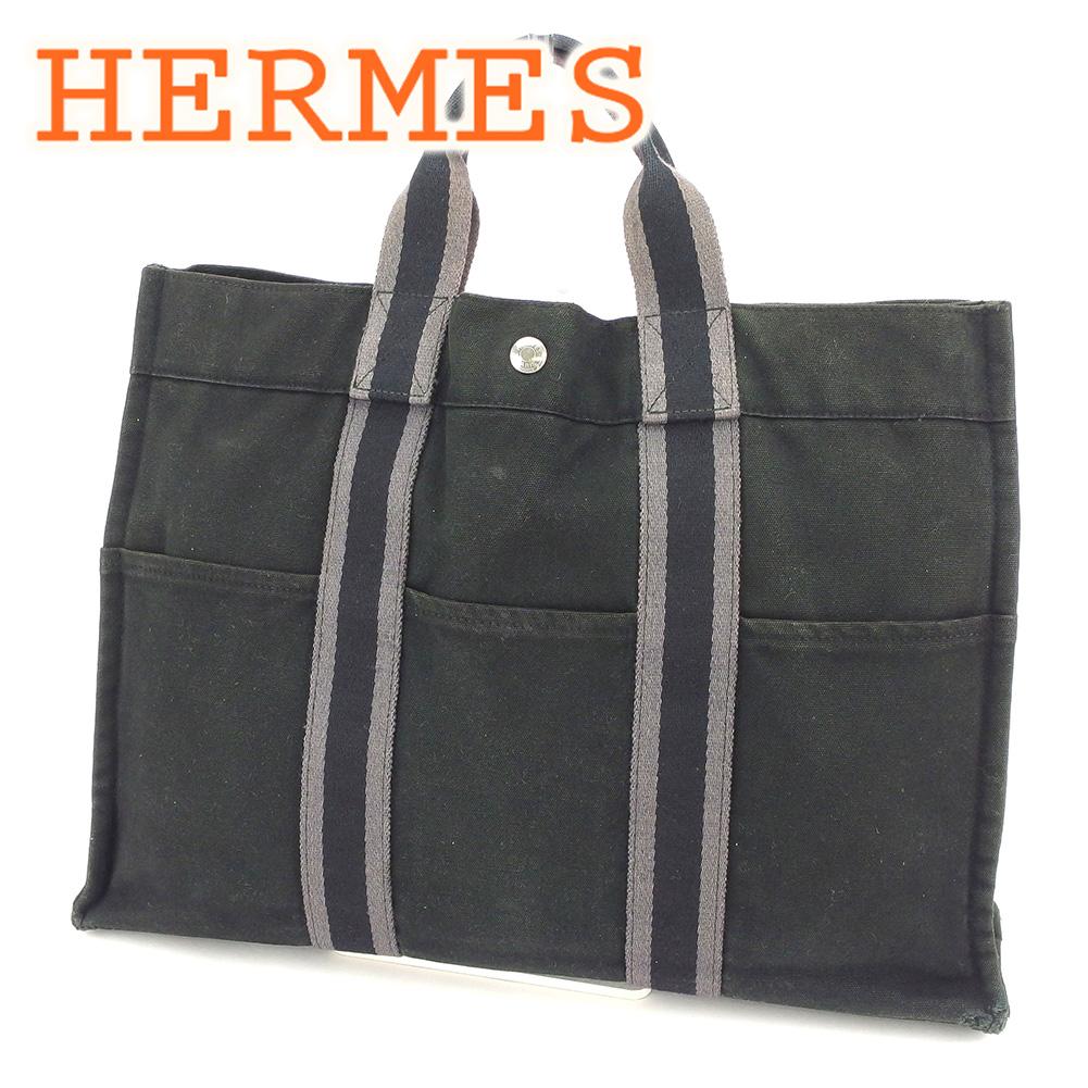 【中古】 エルメス HERMES トートバッグ ハンドバッグ レディース メンズ 可 フールトゥトートMM フールトゥ ブラック 綿100% 人気 セール T6578 .