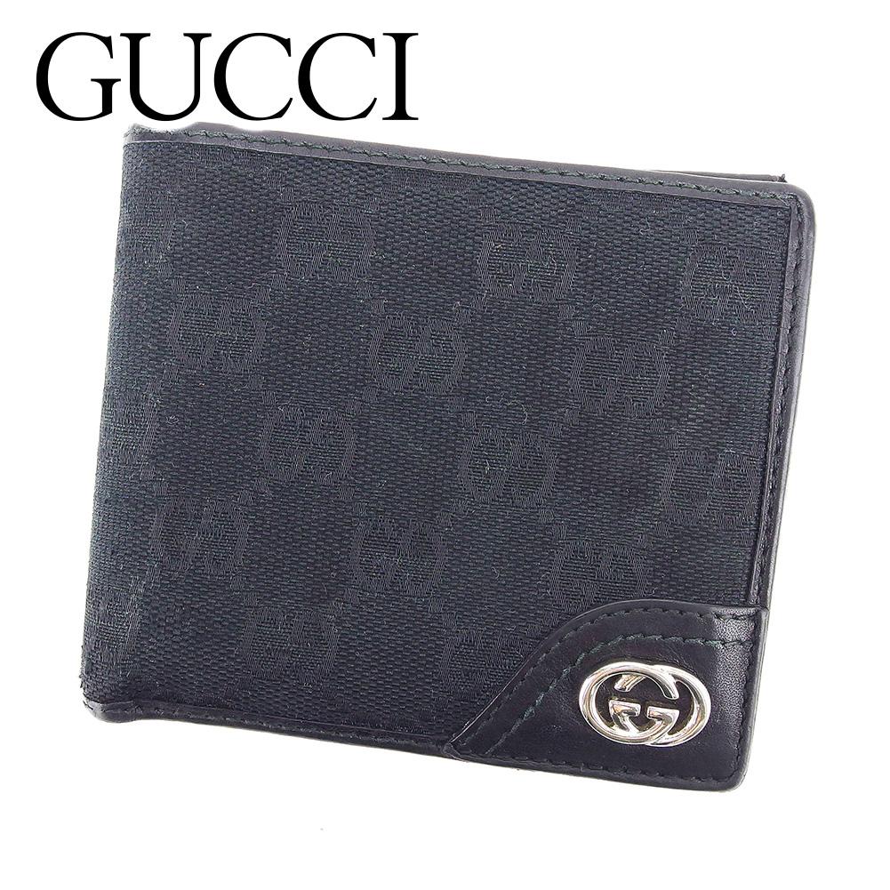【中古】 グッチ GUCCI 二つ折り 財布 レディース メンズ 可 GG柄 ブラック PVC×レザー 人気 セール T6580 .