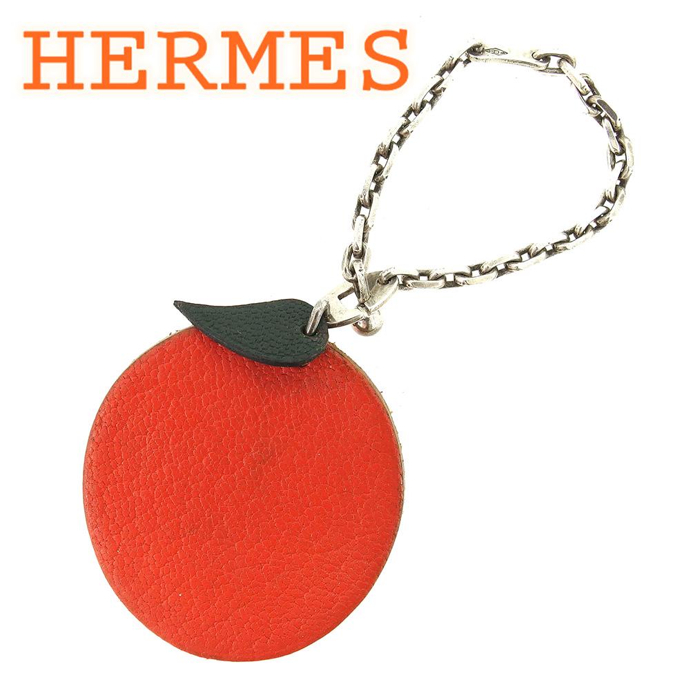 【中古】 エルメス HERMES キーホルダー キーリング レディース メンズ 可 オレンジモチーフ オレンジ シルバー レザー×シルバー素材 人気 セール T6582