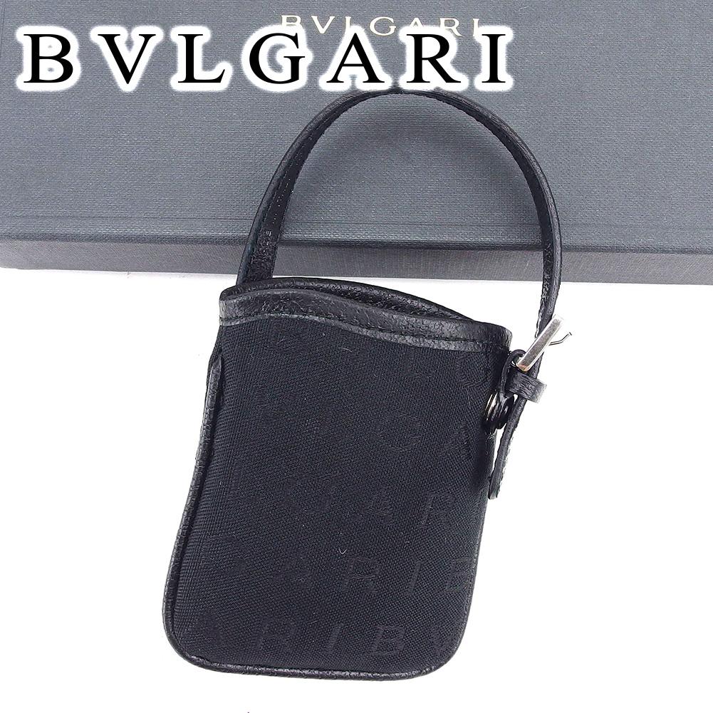 【中古】 ブルガリ BVLGARI バッグチャーム シガレットケース デジカメケース レディース メンズ 可 ロゴマニア ブラック キャンバス×レザー 未使用品 セール T6602