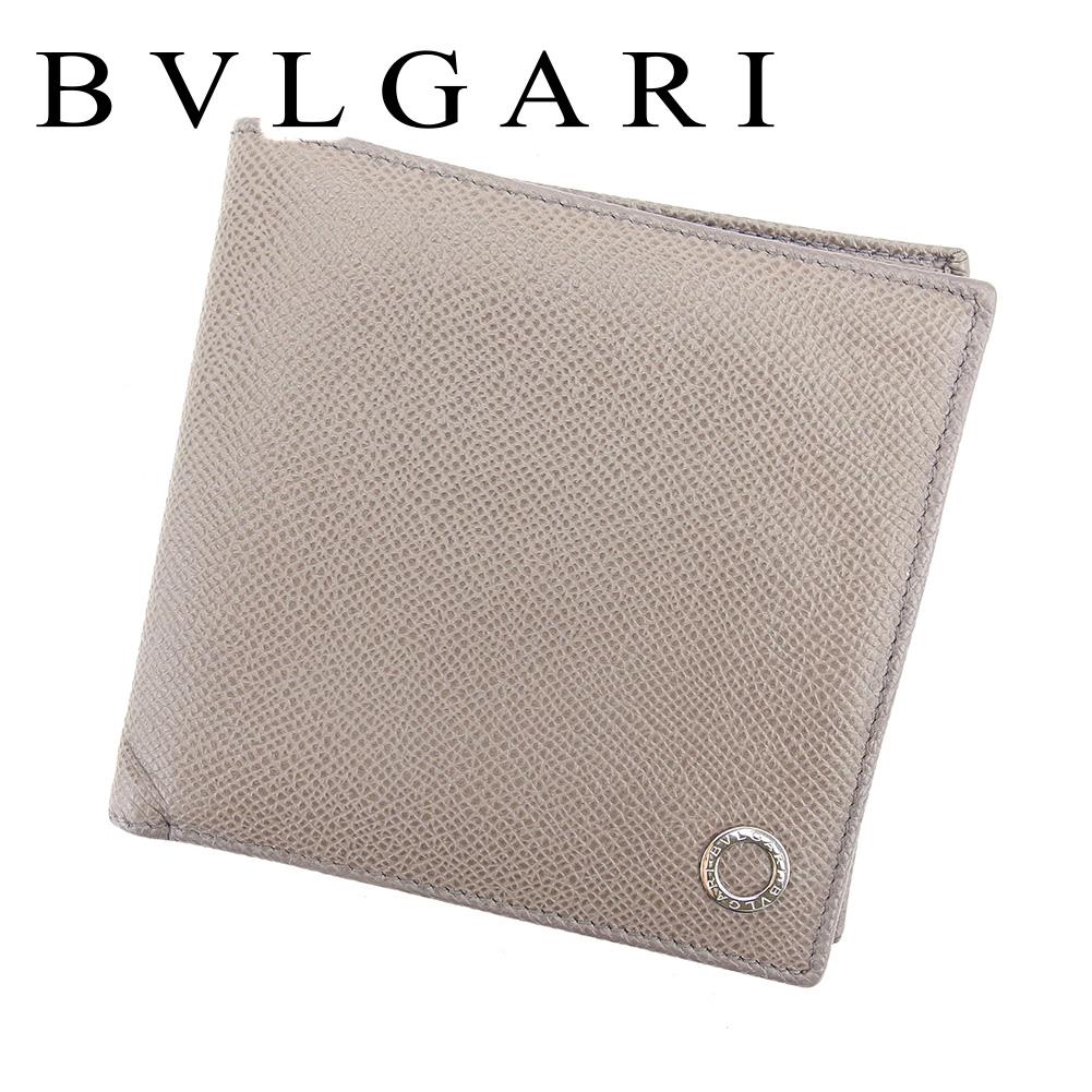 【中古】 ブルガリ BVLGARI 二つ折り 札入れ 二つ折り 財布 レディース メンズ 可 ブルガリブルガリ グレー 灰色 レザー 人気 良品 T6604 .