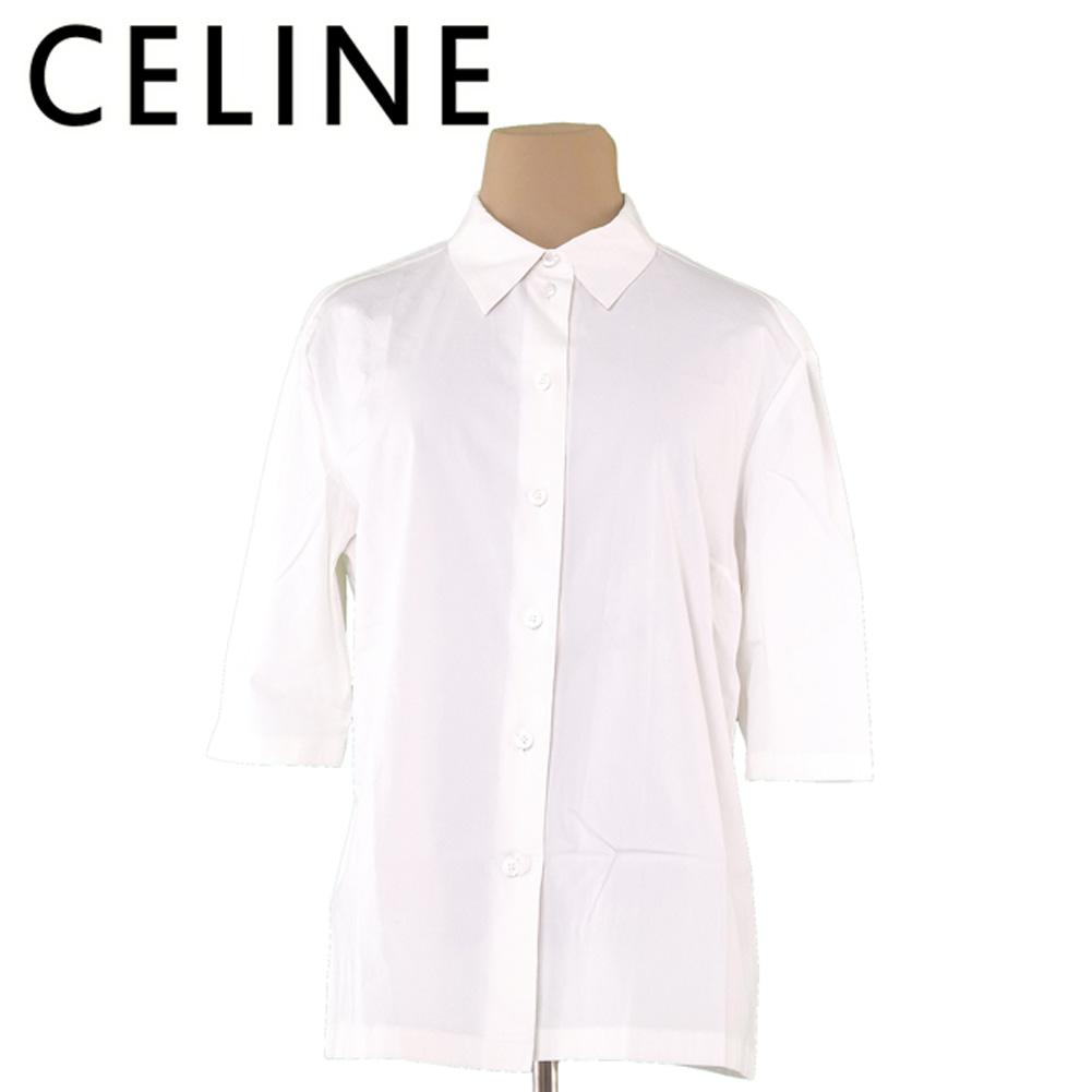 【値引きクーポン】 【中古】 セリーヌ CELINE シャツ レディース ♯44サイズ ホワイト 白 コットン65%シルク31%ポリウレタン4% L1959 .
