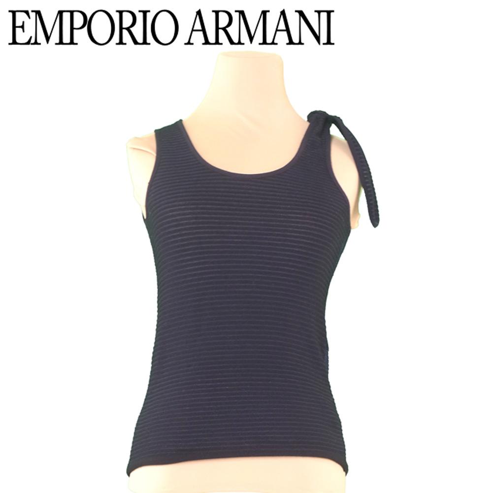 【中古】 エンポリオ アルマーニ EMPORIO ARMANI タンクトップ ニット レディース ♯38サイズ 肩リボン ボーダー ブラック ネイビー ヴィスコースVI/80%ポリエステルPL/20% 美品 セール L1989