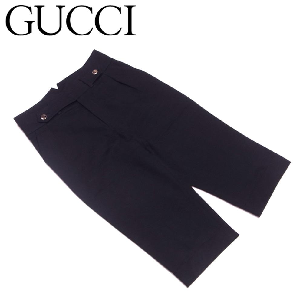 【中古】 グッチ GUCCI パンツ 裾折り返し レディース ♯38サイズ クロップド ブラック ゴールド コットン綿100% 美品 セール S704