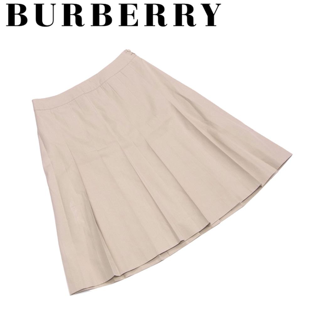 【中古】 バーバリー BURBERRY スカート フレアー レディース ♯38サイズ プリーツ ベージュ コットン綿74%シルク絹26%(裏地)キュプラ 良品 セール S720 .