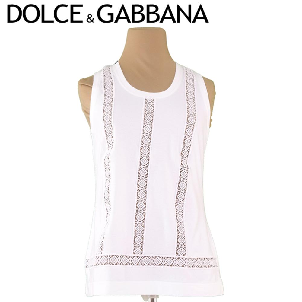 【中古】 ドルチェ&ガッバーナ DOLCE&GABBANA タンクトップ インナー レディース ♯42サイズ ドルガバ 透かしレース ホワイト 白 コットンCO/47%モダールHO/47%エラスタンEA/6% 美品 セール S729 .