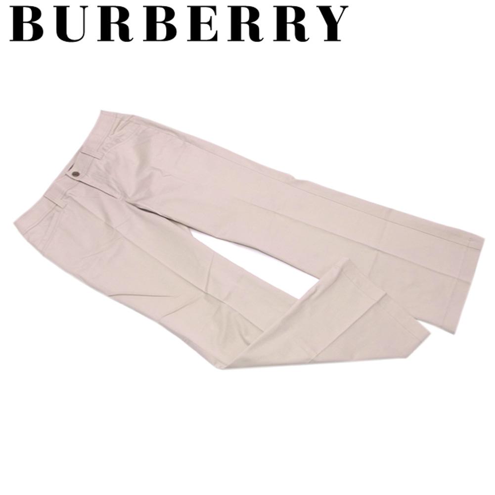 【中古】 バーバリー BURBERRY パンツ レディース メンズ 可 ♯42サイズ センタープレス ベージュ ブラウン コットン綿97%ポリウレタン3% 美品 セール S756 .