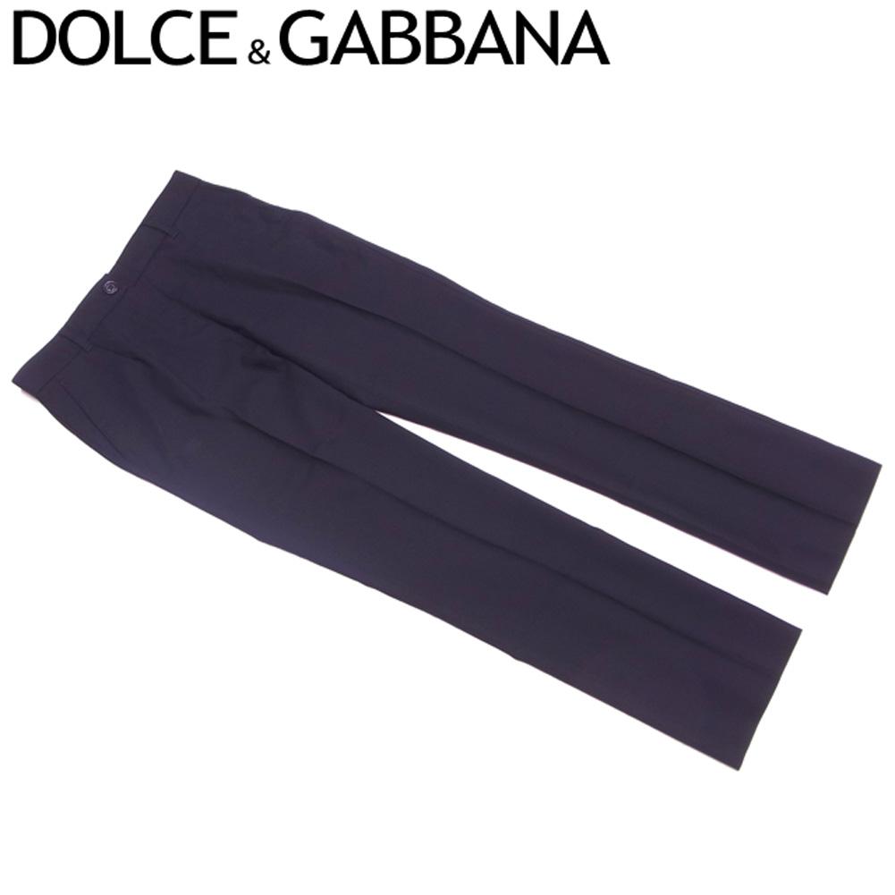 【中古】 ドルチェ&ガッバーナ DOLCE&GABBANA パンツ ストレート レディース ♯36サイズ ドルガバ センタープレス ブラック ウールWO/97%エラスタンEA/3% 人気 セール S799 .
