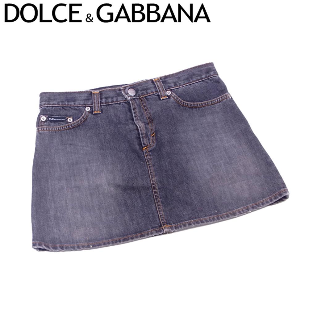 【中古】 ドルチェ&ガッバーナ DOLCE&GABBANA スカート ミニ レディース ♯40サイズ ドルガバ ブラックデニム ブラック シルバー コットンCO/100%(裏一部)コットンCO/50%ポリエステルPL/50% 良品 セール S805 .