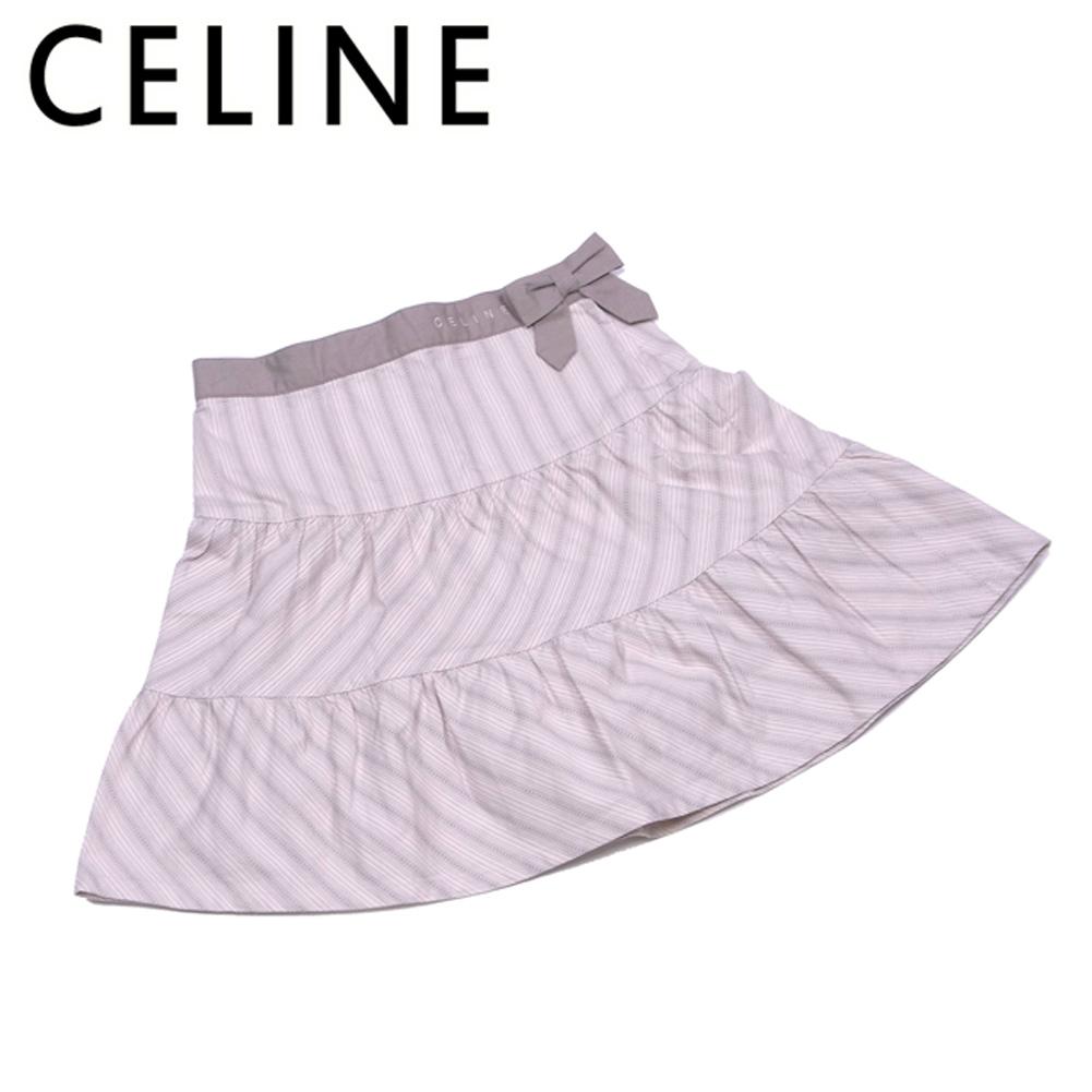 【中古】 セリーヌ CELINE スカート リボン フレアー ガールズ レディース ♯130 ストライプ ベージュ グレー 灰色 コットン綿100%(別布)コットン綿100% 良品 セール S816