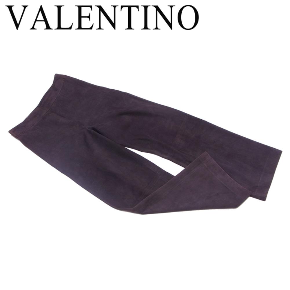 【値引きクーポン】 【中古】 ヴァレンティノ パンツ セミワイド スエード ブラウン AGNELLO100% VALENTINO H765 .