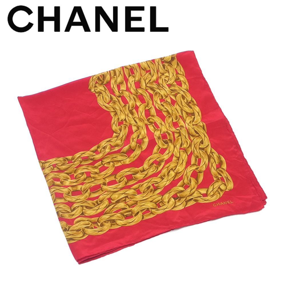【中古】 シャネル CHANEL スカーフ 大判サイズ レディース メンズ 可 レッド イエロー シルク100% T4176