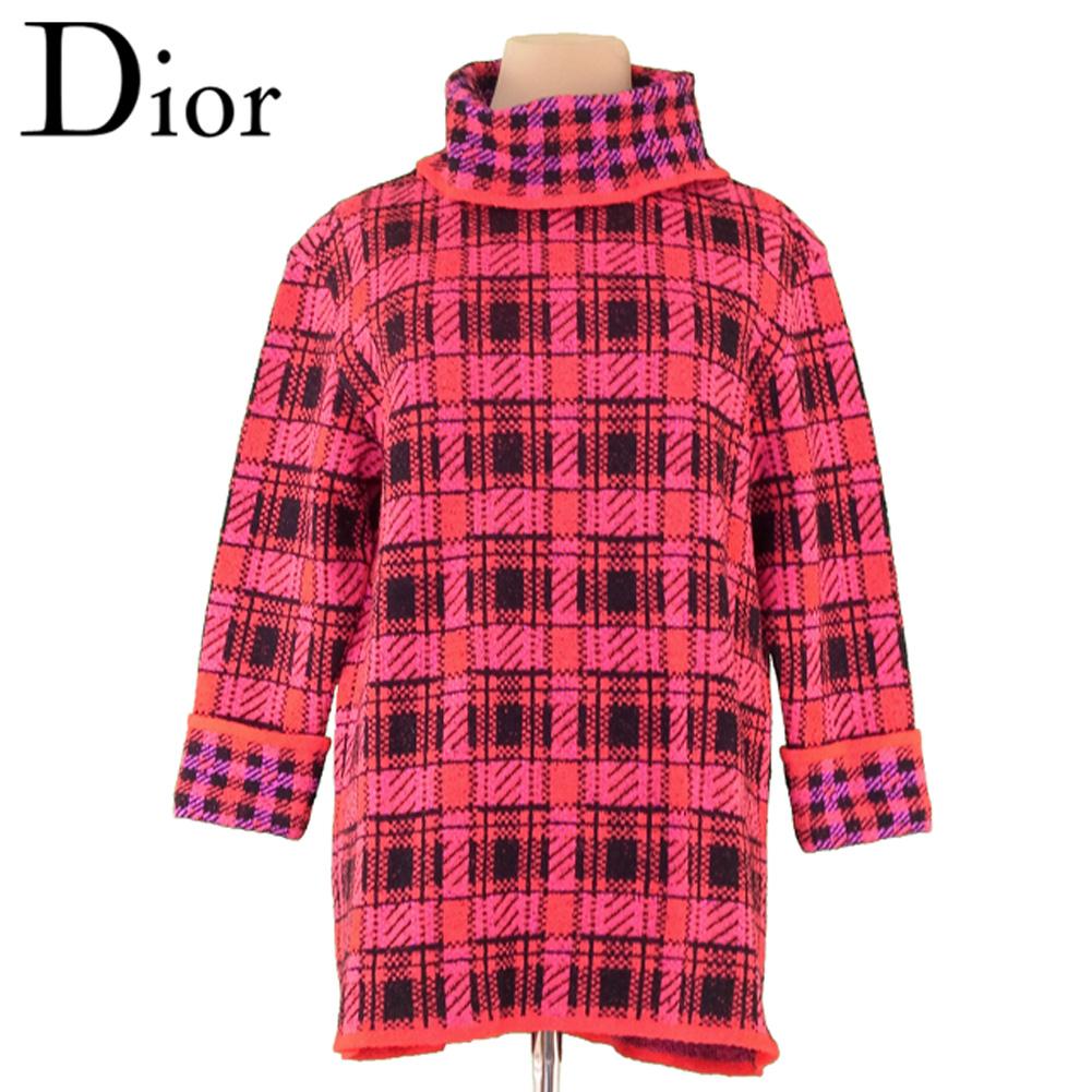 【中古】 ディオール Dior ニット チュニック レディース ♯Mサイズ タートル レッド ブラック ピンク ウール毛77%ナイロン23% T4398