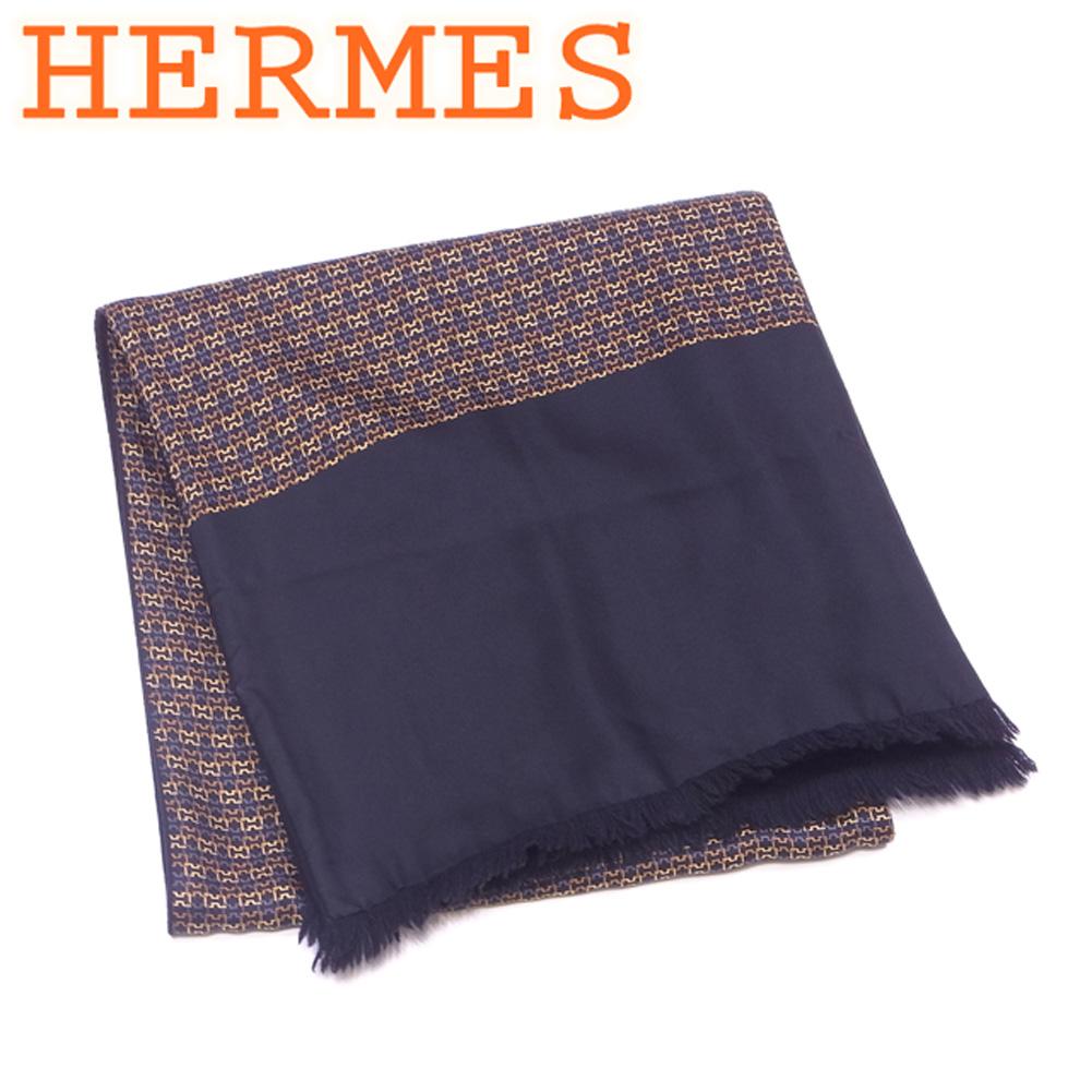 【中古】 エルメス HERMES マフラー フリンジ付き ストール レディース メンズ 可 リバーシブル プリント ブラック ベージュ グレー 灰色 シルク100%アンゴラ100% 美品 セール T4576 .