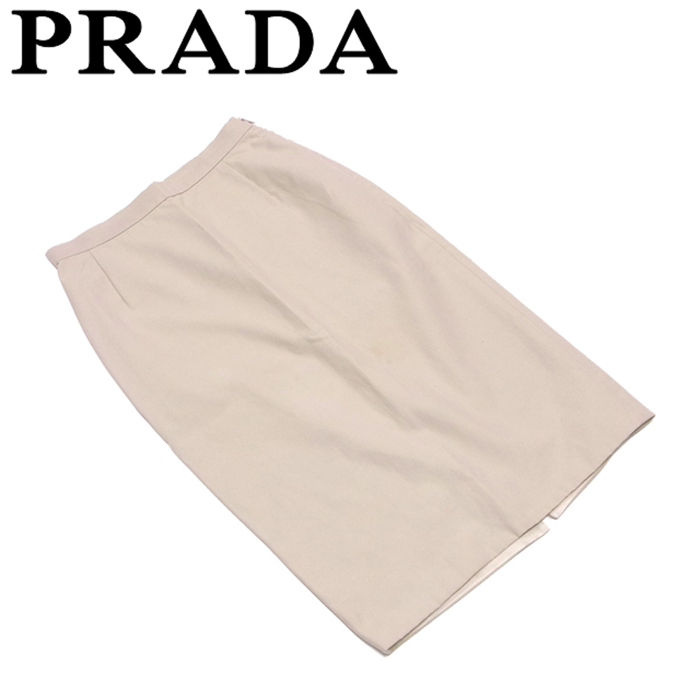 【中古】 プラダ PRADA スカート 後スリット入り レディース ♯38サイズ タイト ベージュ コットン綿52%ナイロン48% 人気 セール T4684