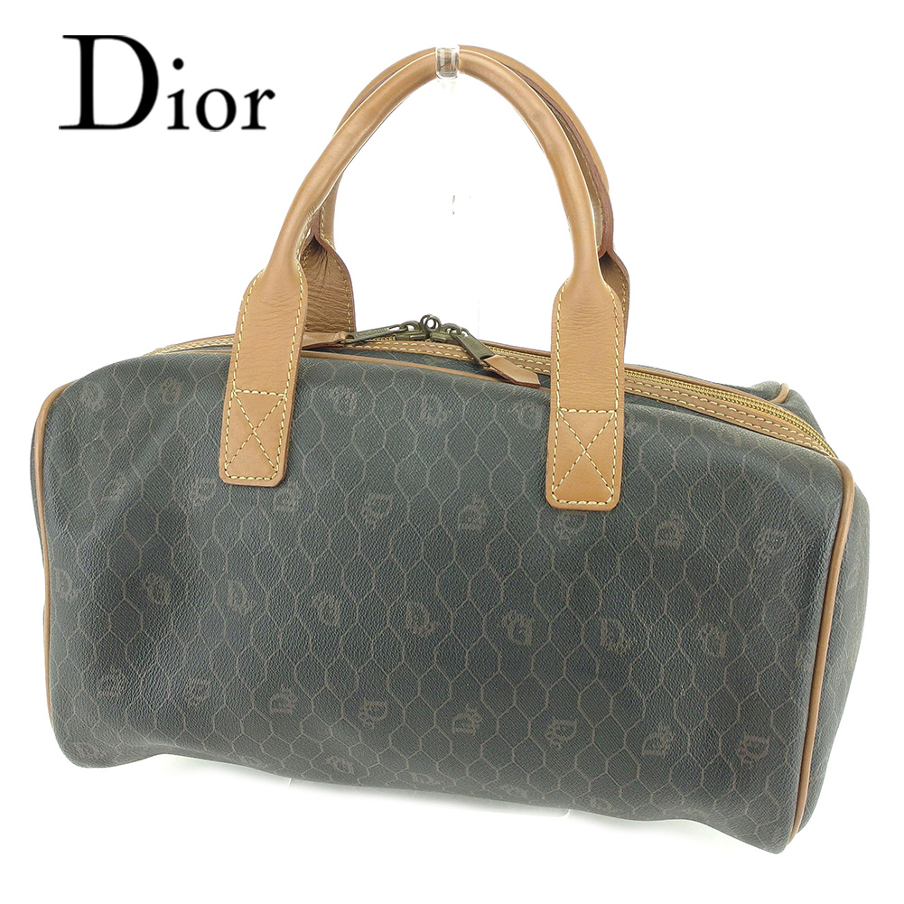 【中古】 ディオール Dior ミニボストンバッグ ハンドバッグ メンズ可  グレー 灰色 ライトブラウン PVC×レザー 人気 良品 T6518