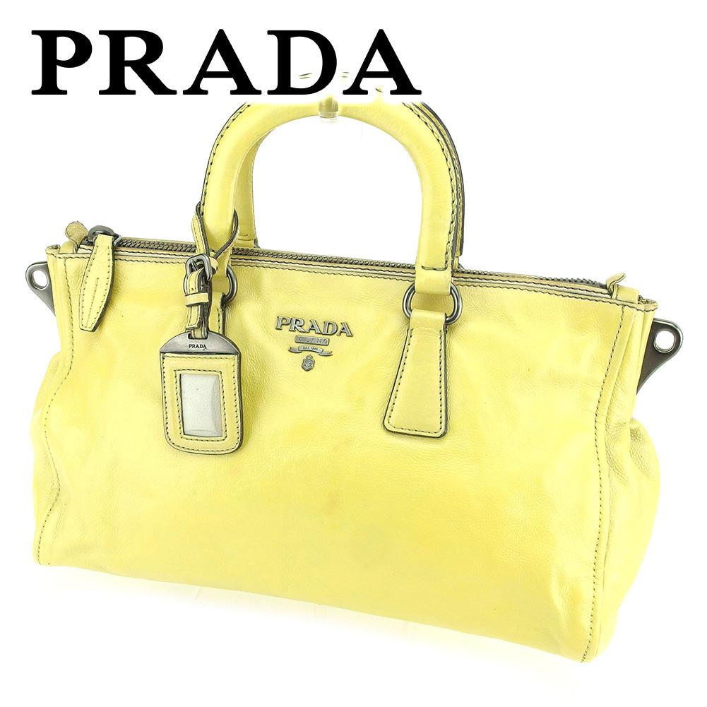 【中古】 プラダ ハンドバッグ ベージュ レザー PRADA バック 手持ちバッグ ファッション ブランド ブランドバッグ 収納 人気 贈り物 迅速発送 在庫処分 男性 女性 良品 夏 1点物 T6531