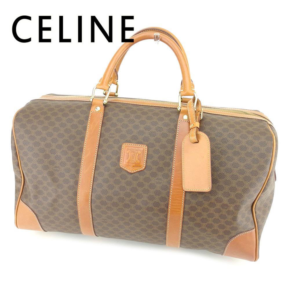 【中古】 セリーヌ Celine ボストンバッグ バック ハンドバッグ バック ブラウン マカダム メンズ可 T6533s