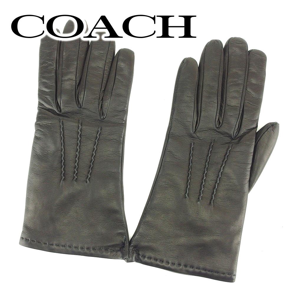 【中古】 コーチ COACH 手袋 グローブ レディース  ブラック レザー 美品 セール T6534 .