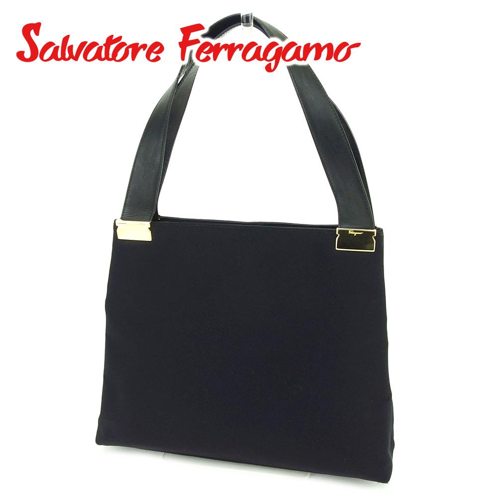 【中古】 サルヴァトーレ フェラガモ Salvatore Ferragamo ハンドバッグ バッグ メンズ可  ブラック ゴールド 美品 セール T6535