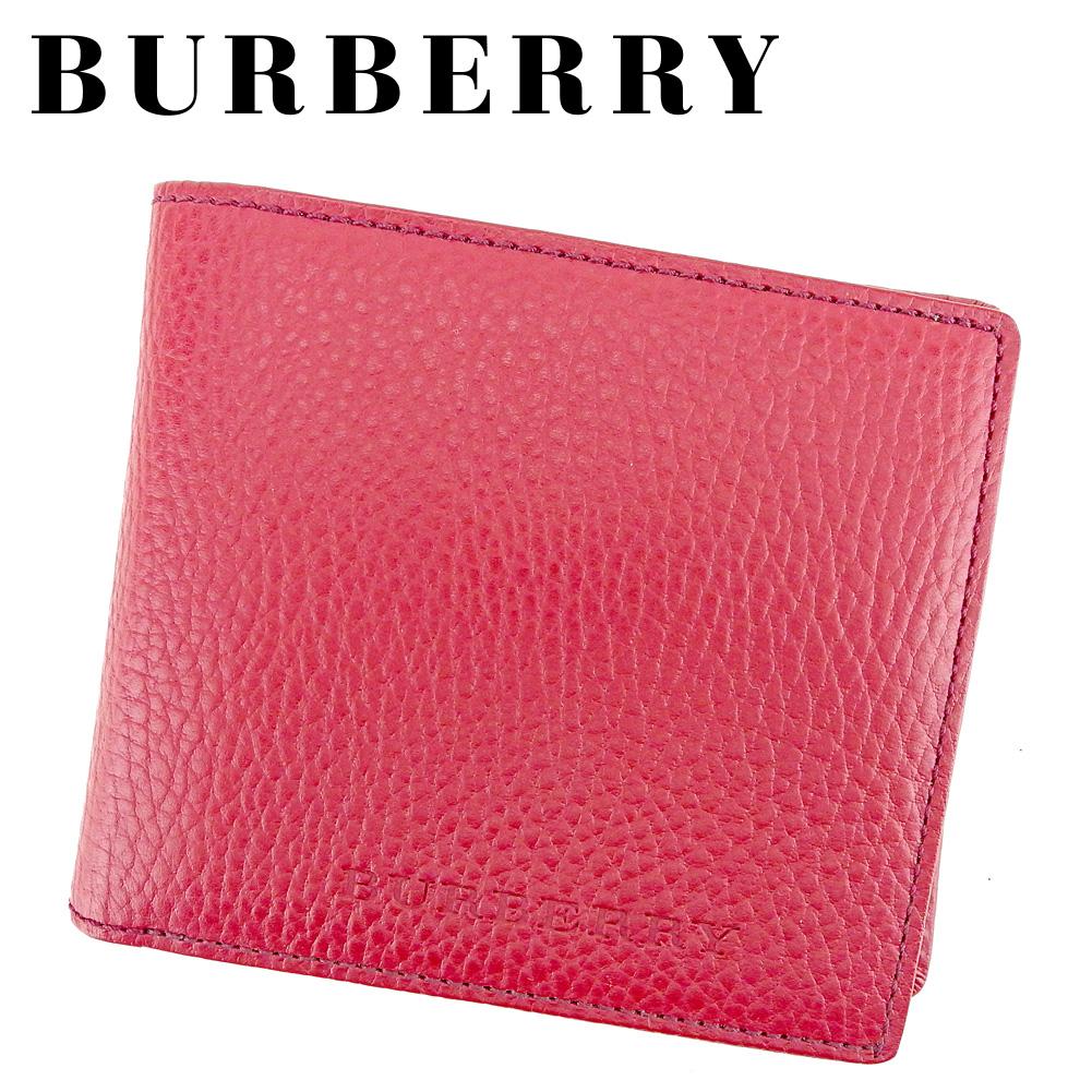 【中古】 バーバリー BURBERRY 二つ折り 財布 メンズ可 ノバチェック レッド レザー 美品 セール T6611 .