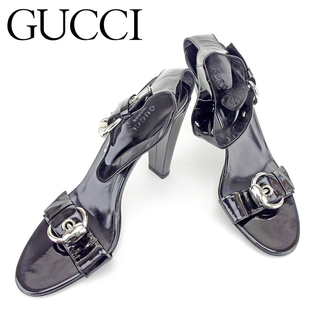 【中古】 グッチ Gucci サンダル 靴 シューズ レディース #39 アンクルストラップ ブラック シルバー エナメルレザー 未使用品 セール T6615 .