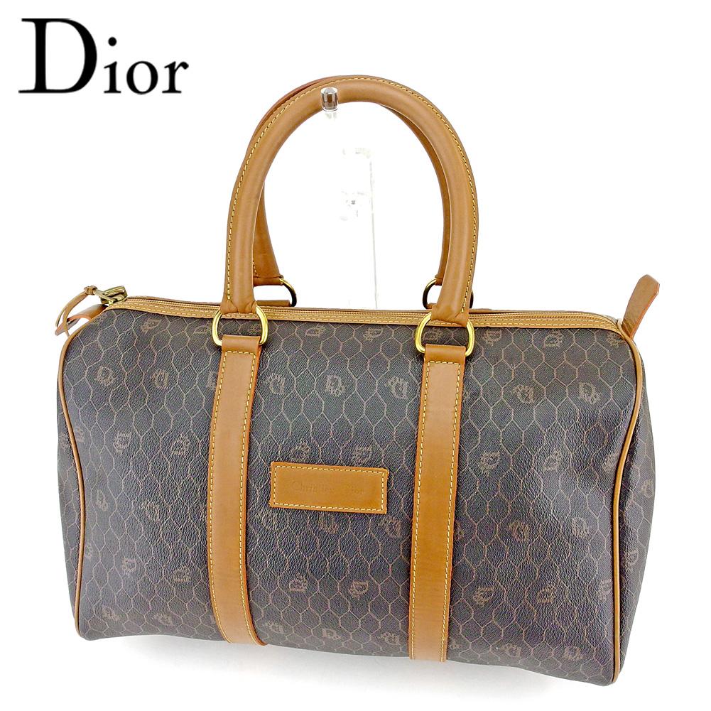 【中古】 ディオール Christian Dior ボストンバッグ バック ハンドバッグ バック 旅行用バッグ バック ライトブラウン ブラック オールドディオール メンズ可 T6619s .