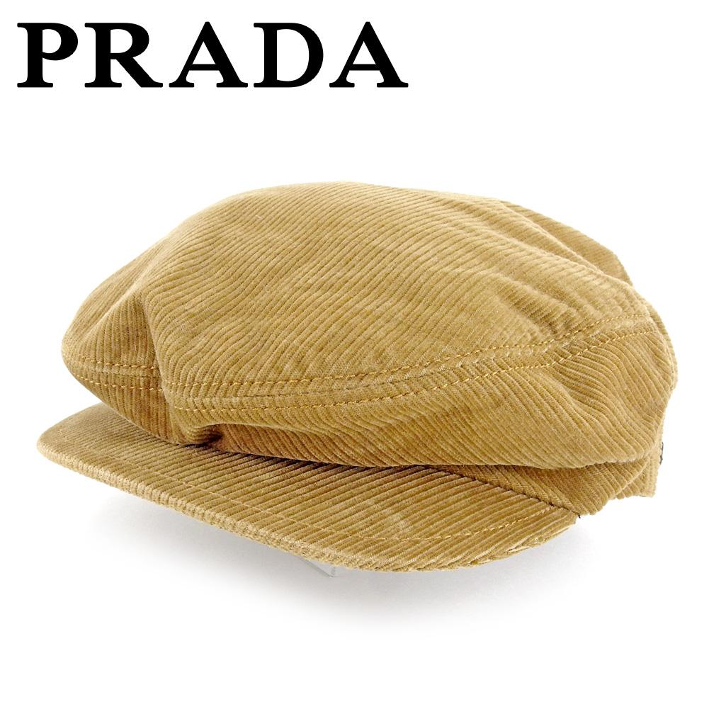 【中古】 プラダ PRADA 帽子 ハンチング帽 レディース メンズ 可  ライトブラウン 綿 人気 良品 T6620