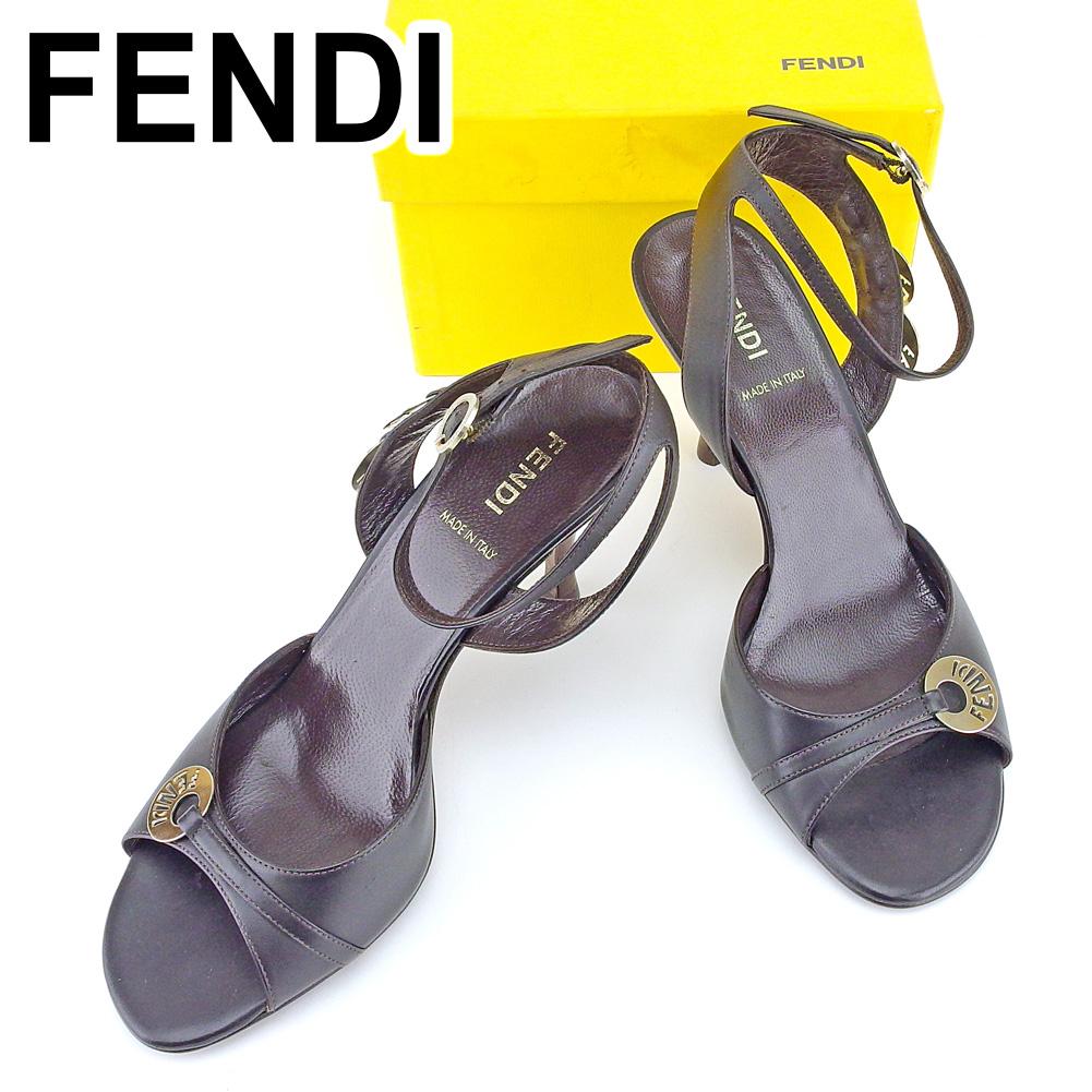【中古】 フェンディ FENDI サンダル 靴 シューズ レディース #35 ブラウン レザー 人気 良品 T6623 .