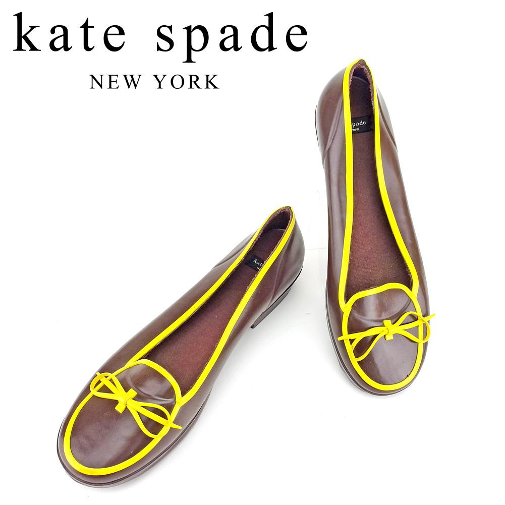 【中古】 ケイト スペード kate spade パンプス ラバーシューズ レインシューズ メンズ可 #8 リボンモチーフ ブラウン イエロー ラバー素材 人気 セール T6640 .