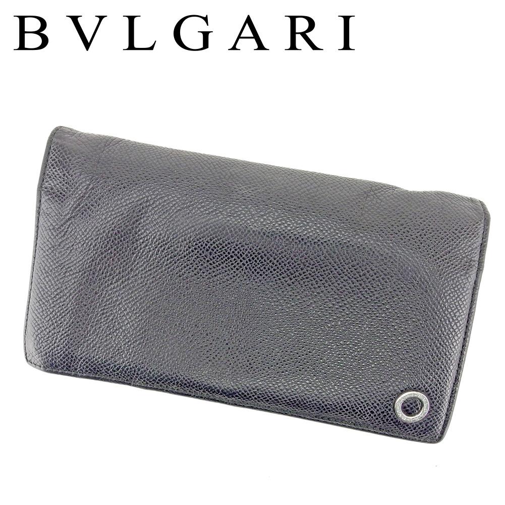 【中古】 ブルガリ BVLGARI 長財布 ファスナー付き 長財布 レディース メンズ 可 ブルガリブルガリ ブラック レザー 人気 セール T6642