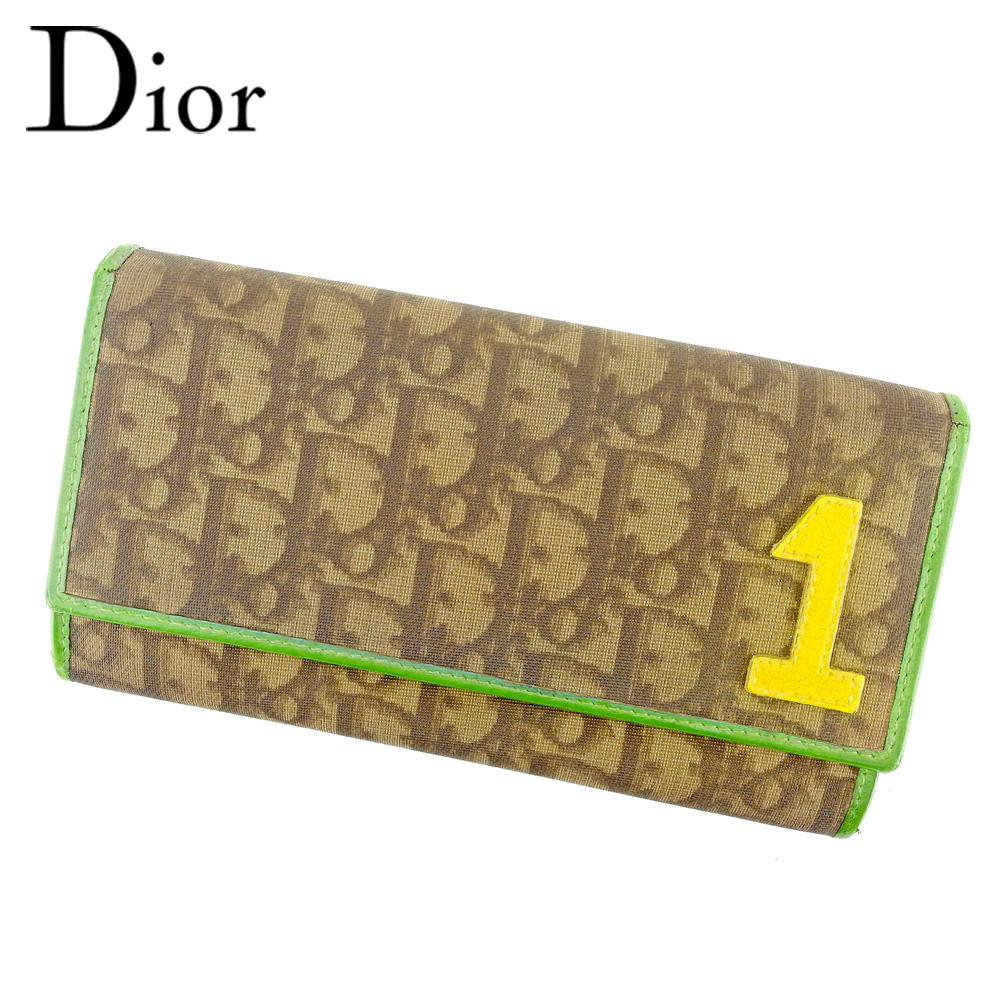 【中古】 ディオール Dior 長財布 ファスナー付き 長財布 レディース メンズ 可 トロッター ブラウン グリーン レッド PVC×レザー 廃盤 人気 T6644