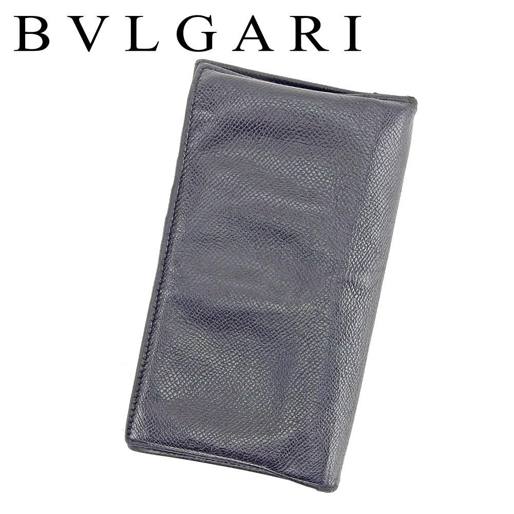 【中古】 ブルガリ Bvlgari 長財布 財布 ファスナー付き 長財布 財布 ブラック レディース メンズ 可 T6648s .