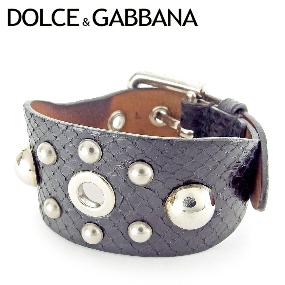 【中古】 ドルチェ&ガッバーナ Dolce & Gabbana ブレスレット アクセサリー ブラック シルバー ドルガバ パイソン型押し レディース メンズ 可 T6651s
