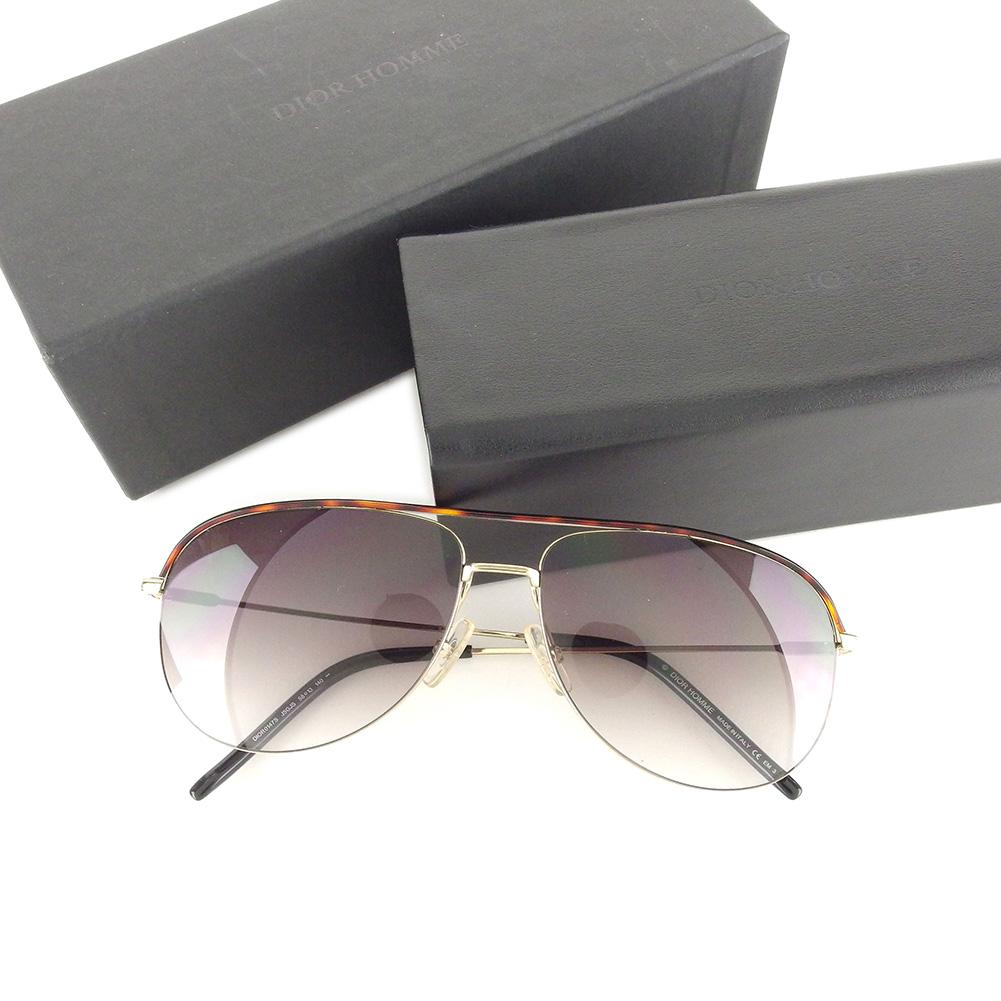 【中古】 ディオール オム Dior Homme サングラス アイウエア メンズ ブラック ゴールド ブラウン T6653