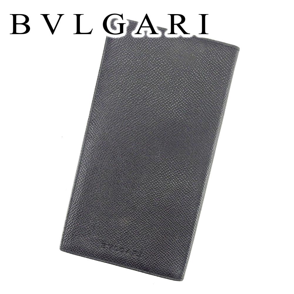 【中古】 ブルガリ BVLGARI 長札入れ 長財布 レディース メンズ 可 ブラック レザー T6659