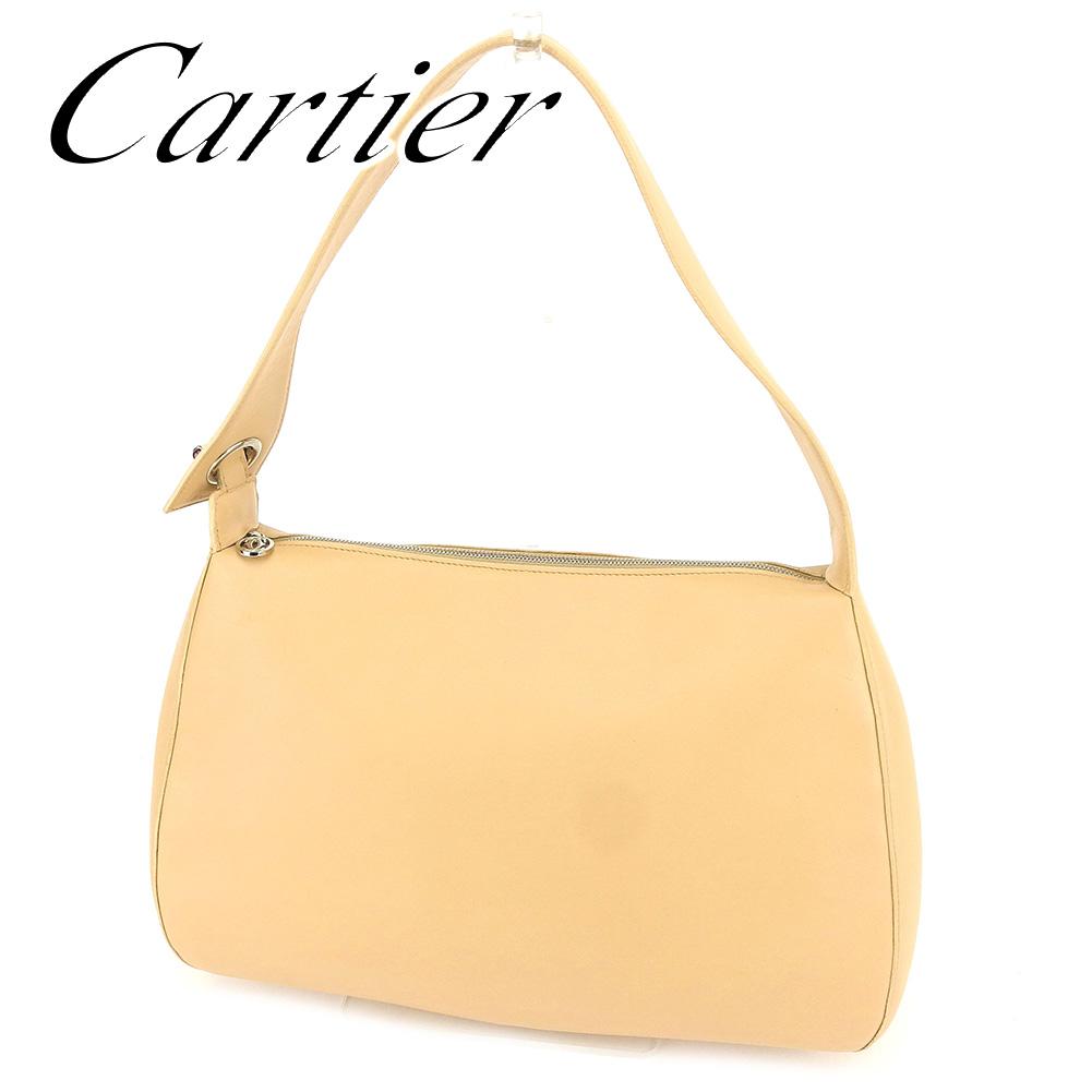 【中古】 カルティエ Cartier ショルダーバッグ ワンショルダー レディース マストライン ベージュ レザー 美品 セール T6661