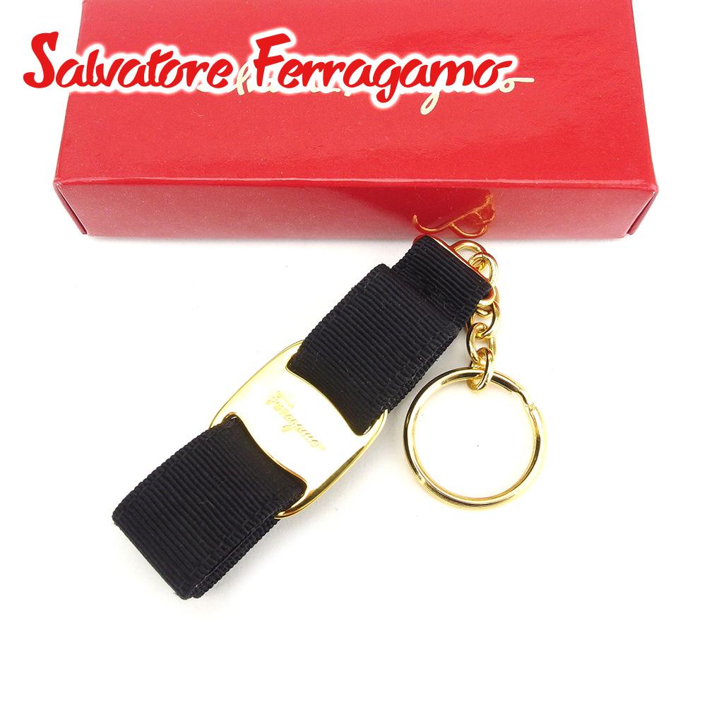 【中古】 サルヴァトーレ フェラガモ Salvatore Ferragamo キーホルダー キーリング レディース ブラック ゴールド キャンバス T6669