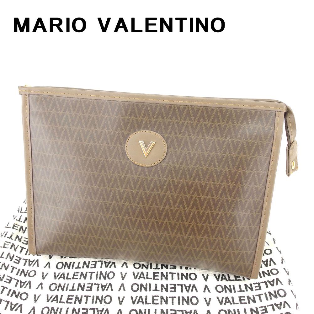 【中古】 マリオ ヴァレンティノ MARIO VALENTINO クラッチバッグ セカンドバッグ レディース メンズ 可 Vモチーフ ブラウン PVC×レザー 人気 良品 T6673 .