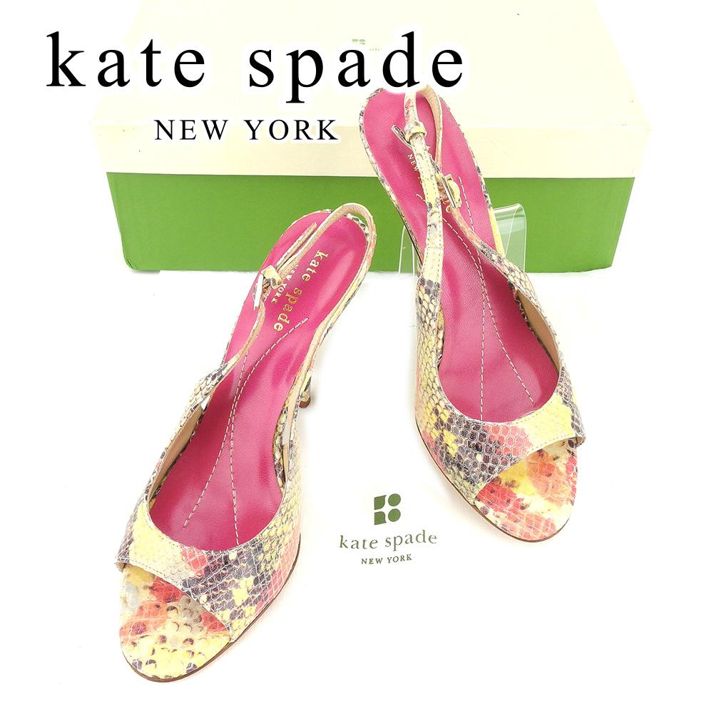 【中古】 ケイト スペード kate spade パンプス 靴 シューズ メンズ可 #6 パイソン型押し ベージュ ピンク レザー 人気 セール T6678 .