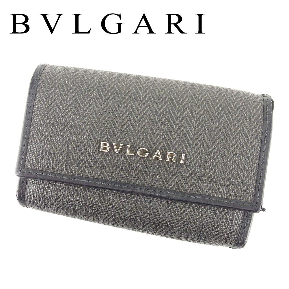 【中古】 ブルガリ BVLGARI キーケース 6連キーケース レディース メンズ 可  ブラック グレー 灰色 PVC×レザー 人気 セール T6697 .