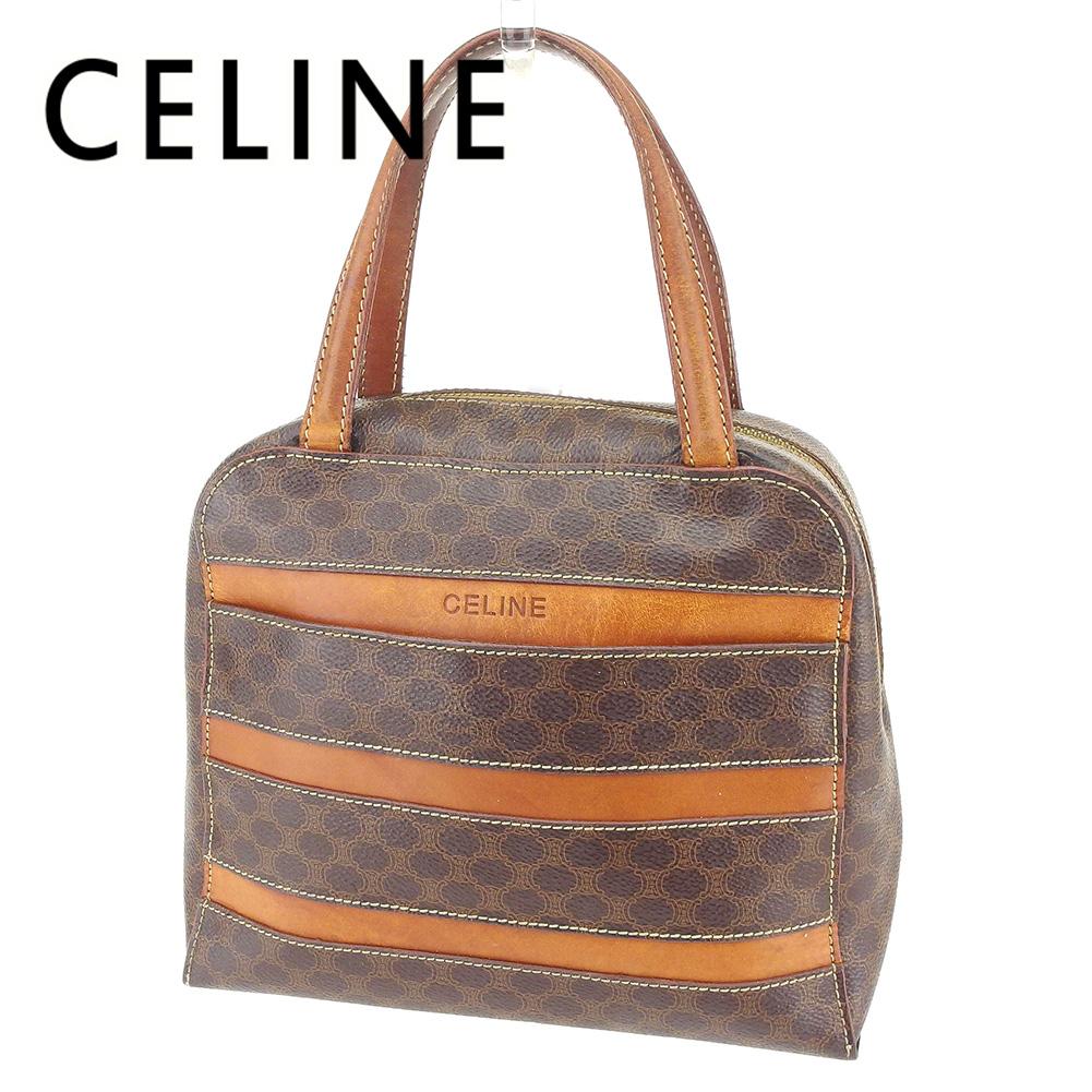 【中古】 セリーヌ Celine ハンドバッグ バック ブラウン マカダム レディース T6698s