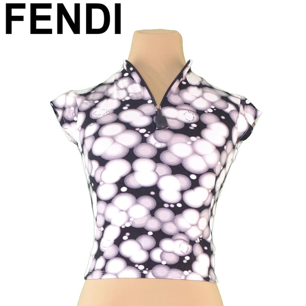 【中古】 フェンディ FENDI カットソー スタンドジップ トップス レディース ♯Inch24サイズ ホワイト 白 グレー 灰色 ブラック ヴィスコースVI 90%エラスタンEA 10% T5067