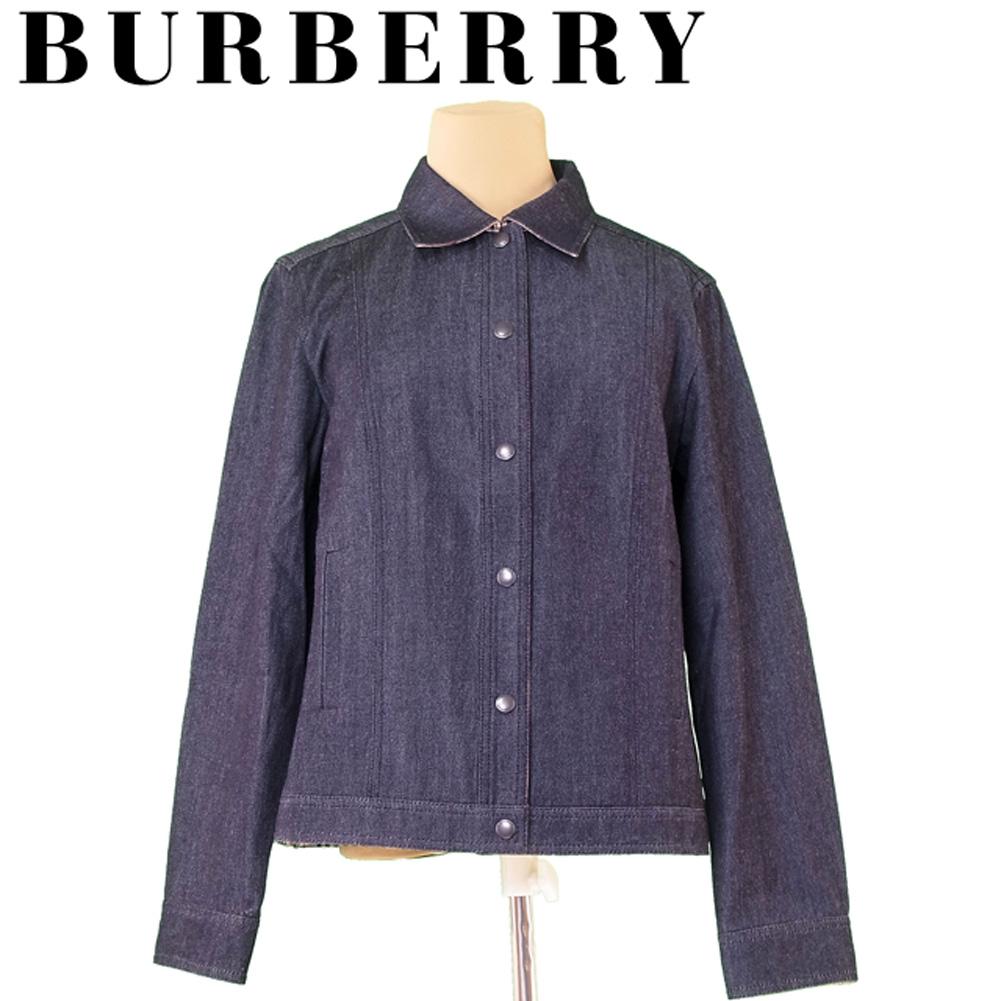 【中古】 バーバリー BURBERRY ジャケット シングルボタン レディース ♯42サイズ ネイビー系 ウール毛55%コットン綿45%(部分使イ)綿100% T5132 .
