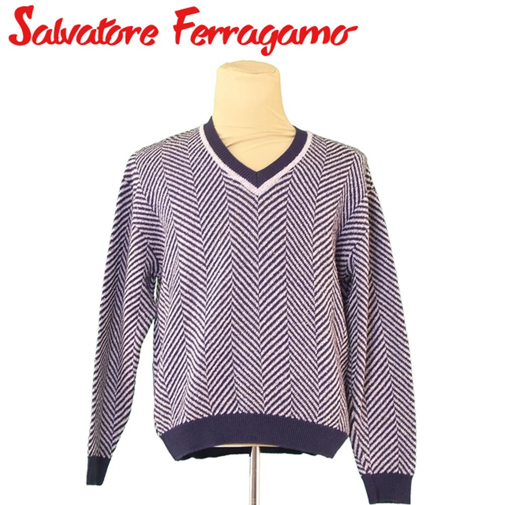 【中古】 サルヴァトーレ フェラガモ Salvatore Ferragamo ニット Vネック セーター メンズ ♯Sサイズ ネイビー ブルー系 コットンCO 54%ウールWO 34%ナイロンNY 12% T5134 .