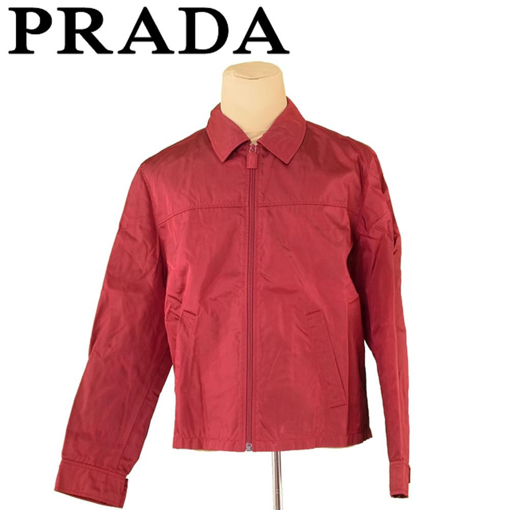 【中古】 プラダ PRADA ジャケット ブルゾン メンズ ♯Lサイズ ジップアップ ボルドー シルバー ナイロンNY/100%(裏地)レーヨンRY/100% 人気 セール T5260 .